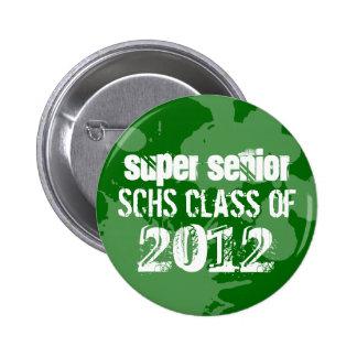 Green ink splatter school senior class of grunge 6 cm round badge