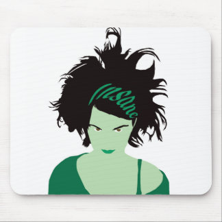 Green Insane Girl Mouse Pad