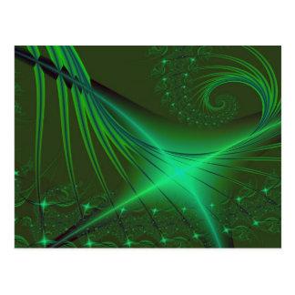 Green Interrumpted Fractal Art Postcard