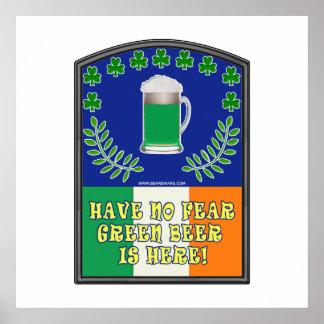 Green Irish Beer is Here Posters