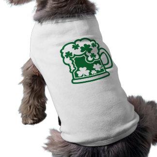 Green irish beer sleeveless dog shirt