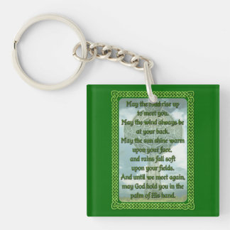 Green Irish Blessing Double-Sided Square Acrylic Key Ring