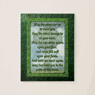 Green Irish Blessing Jigsaw Puzzle