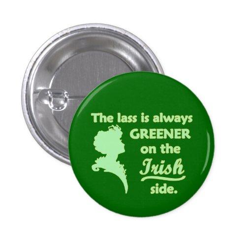 Green Irish Lass Pinback Button