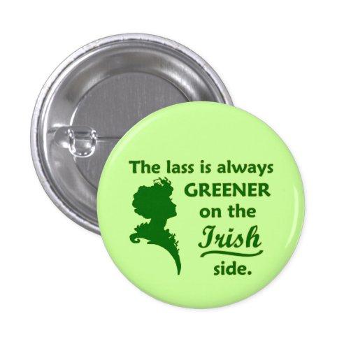 Green Irish Lass Small Pinback Button