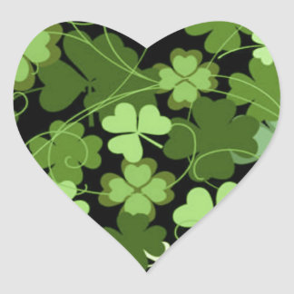 Green Irish Shamrock Heart Sticker