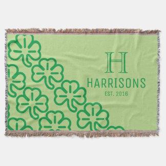 Green Irish Shamrock Personalized Family Name Throw Blanket