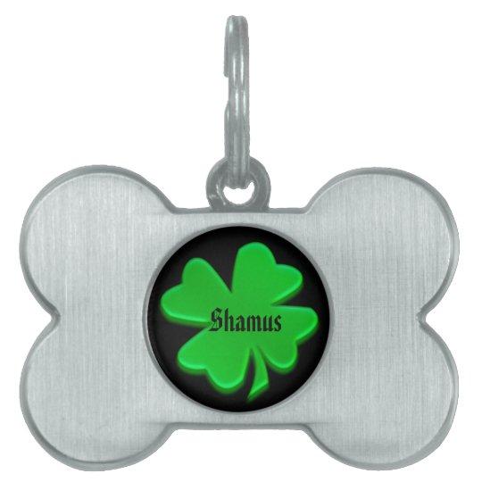 Green Irish Shamrock Pet Tag