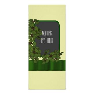 Green Irish shamrock wedding 10 Cm X 24 Cm Invitation Card