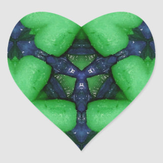 Green Irish Shamrocks Heart Sticker