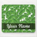 Green Irish shamrocks personalised Mousepad
