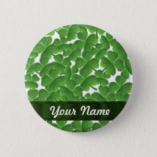 Green Irish shamrocks personalized 6 Cm Round Badge
