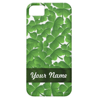 Green Irish shamrocks personalized Barely There iPhone 5 Case