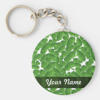 Green Irish shamrocks personalized Basic Round Button Key Ring