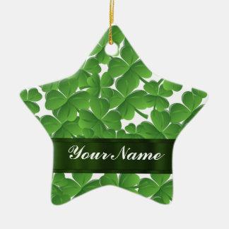 Green Irish shamrocks personalized Christmas Ornament