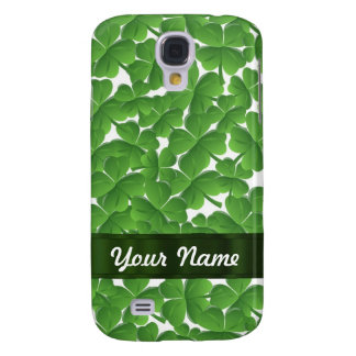 Green Irish shamrocks personalized Galaxy S4 Case
