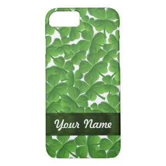 Green Irish shamrocks personalized iPhone 7 Case