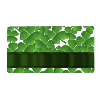 Green Irish shamrocks personalized Shipping Label
