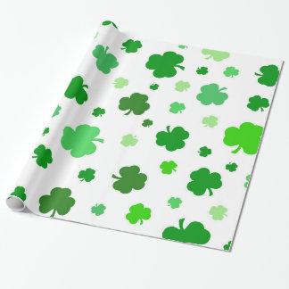 Green Irish Shamrocks Wrapping Paper