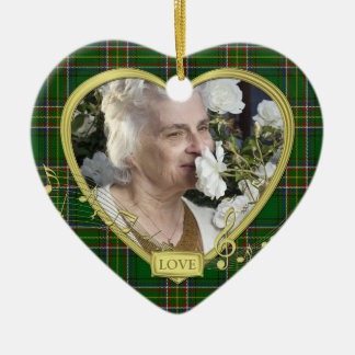 Green Irish Tartan Memorial Heart Photo Christmas Ceramic Heart Decoration