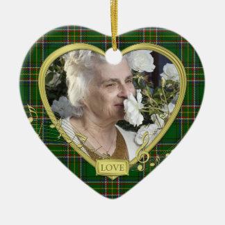 Green Irish Tartan Memorial Heart Photo Christmas Christmas Ornament