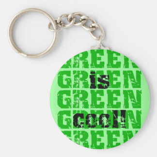 GREEN is cool Basic Round Button Key Ring