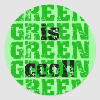 GREEN is cool Classic Round Sticker