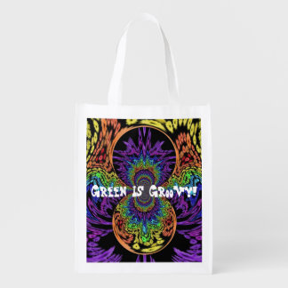 """Green Is Groovy!"" Retro Hippie Reusable Reusable Grocery Bag"