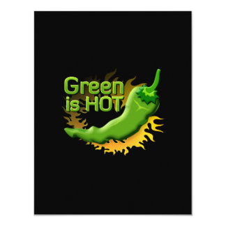 Green is HOT 11 Cm X 14 Cm Invitation Card