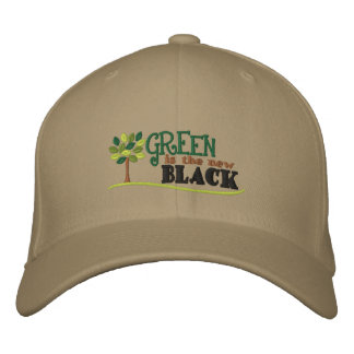 Green Is New Black Embroidered Cap