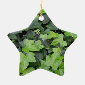 Green Ivy Botanical Print Ceramic Star Decoration