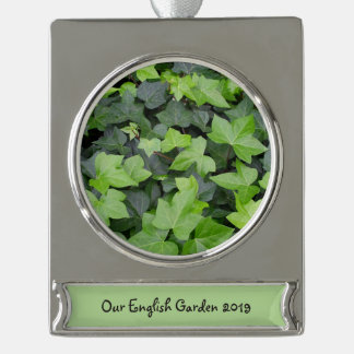 Green Ivy Silver Plated Banner Ornament