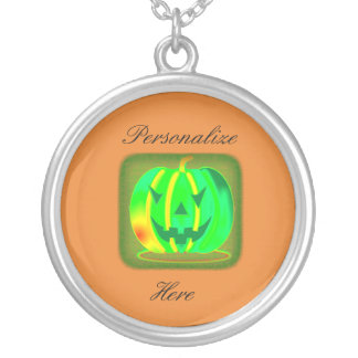 Green Jack o'lantern Halloween Thunder_Cove Silver Plated Necklace