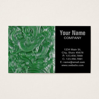 green jade chinese dragon sculpture business card