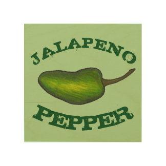 Green Jalapeno Hot  Pepper Chef Food Kitchen Cook Wood Print