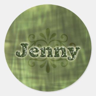 Green Jenny Round Sticker