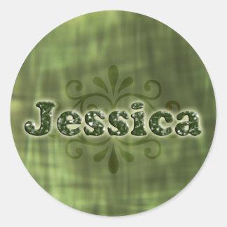 Green Jessica Round Sticker