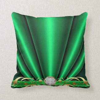 Green Jeweled Scroll Pillow