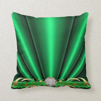 Green Jeweled Scroll Pillow Cushion