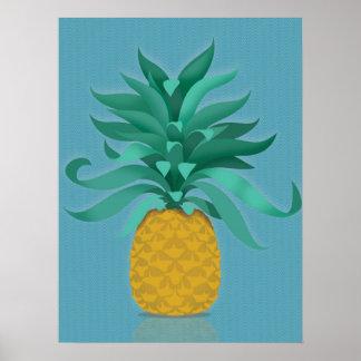 Green juicy pineapple wall art print