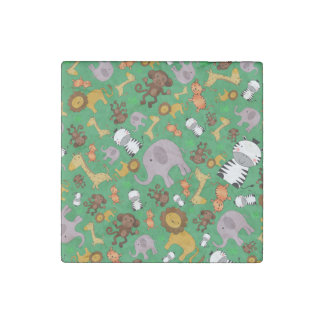 Green jungle safari animals stone magnet