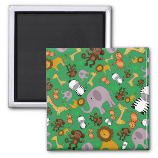 Green jungle safari animals magnets