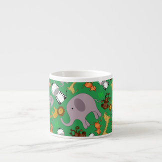Green jungle safari animals espresso mugs
