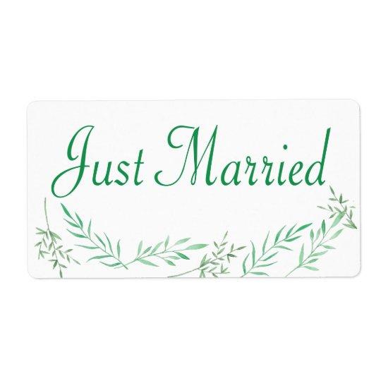 Green Just Married Wedding Sticker Laurel Leaves