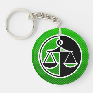 Green Justice Scales Key Chain
