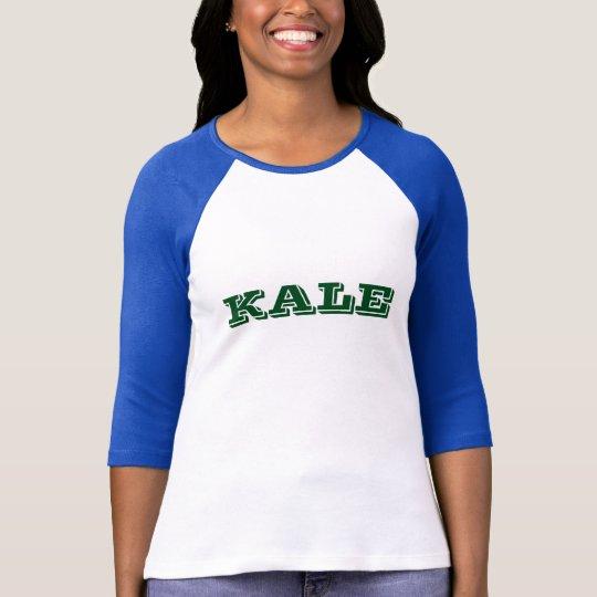 Green KALE University Letter Blue Raglan Tee Shirt