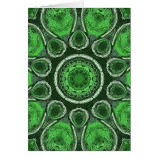 Green Kaleidoscope Greeting Cards