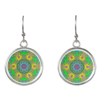 Green Kaleidoscope Design Dangle Earrings