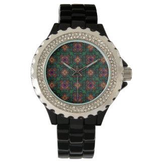 Green Kaleidoscope Hippie Art Pattern Watch