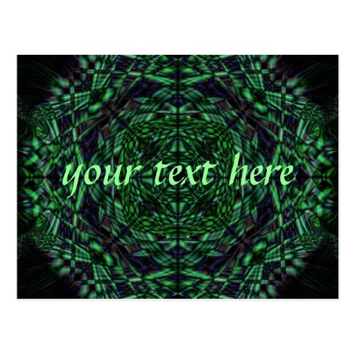 Green kaleidoscope post cards